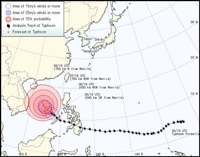 Korea Meteorological Administration forecast track for Bopha as of 8 am December 6, 2012. Image courtesy of the KMA.